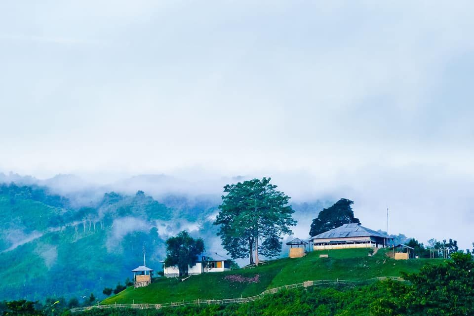 Hill View of New Zealand Para in the morning, Fogg, hills, and house have created a scenic beauty