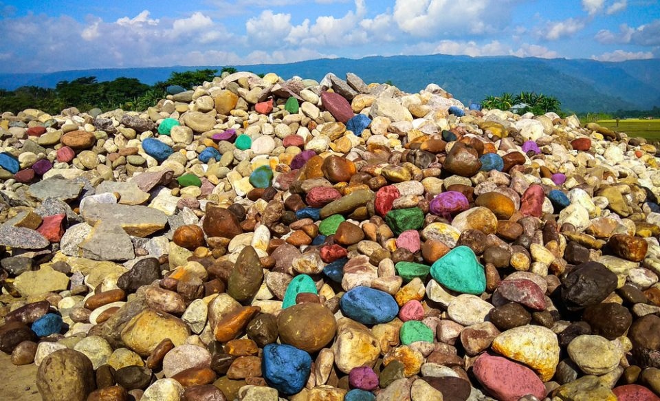 Beautiful stones and colourful pebbles on the bank of a river in Bishanakandi, Sylhet