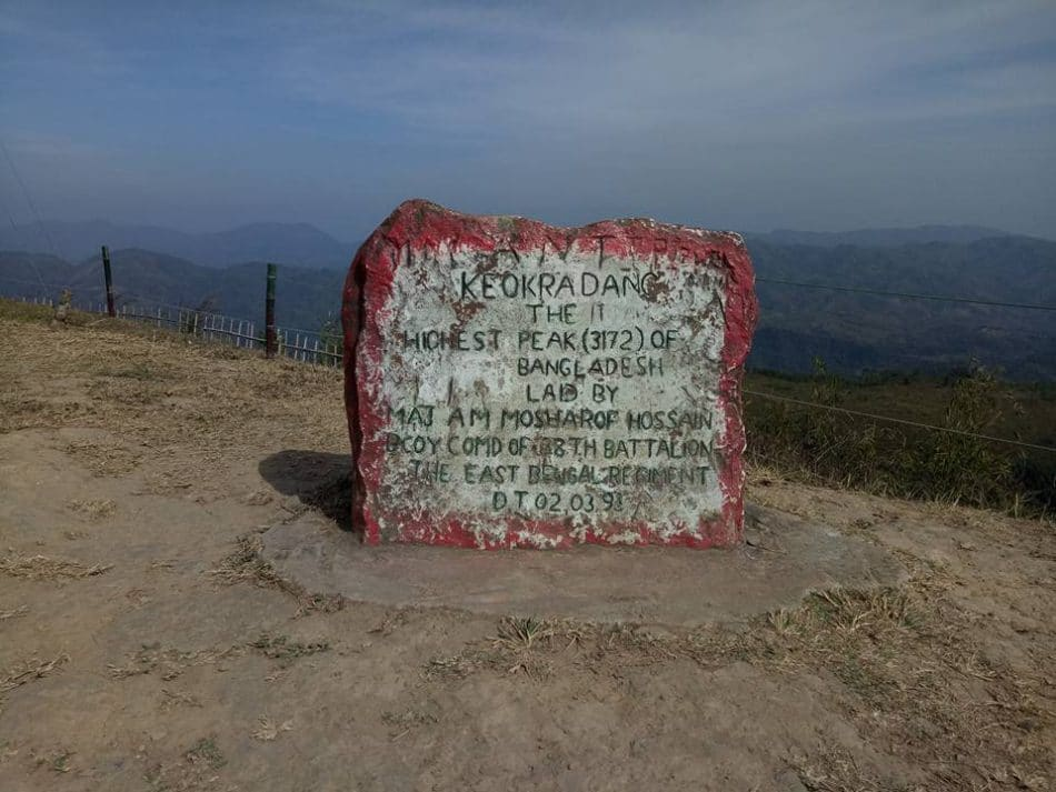 Keokradong measurement in a stone board in top of the hill