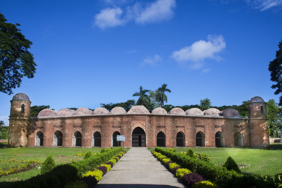 Front view of world heritage in Bangladesh, Shat Gambuj Mosque