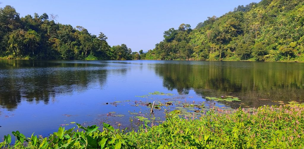 Boga Lake and green trees around. Top tourist attraction in bangladesh