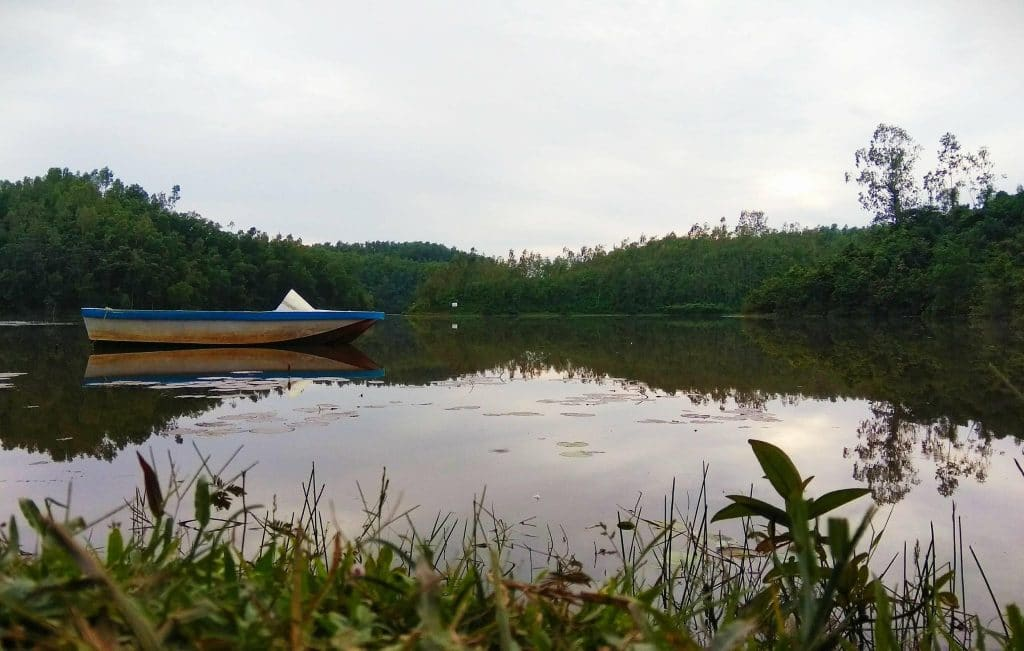 A boat in Prantik Lake. A pleasant place to go with family in Bangladesh.