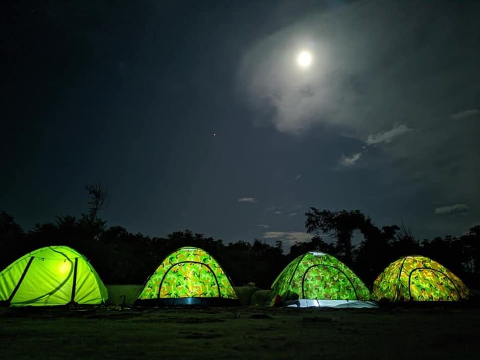 Camping in Cox's Bazar. Four Camp in a moonlit night