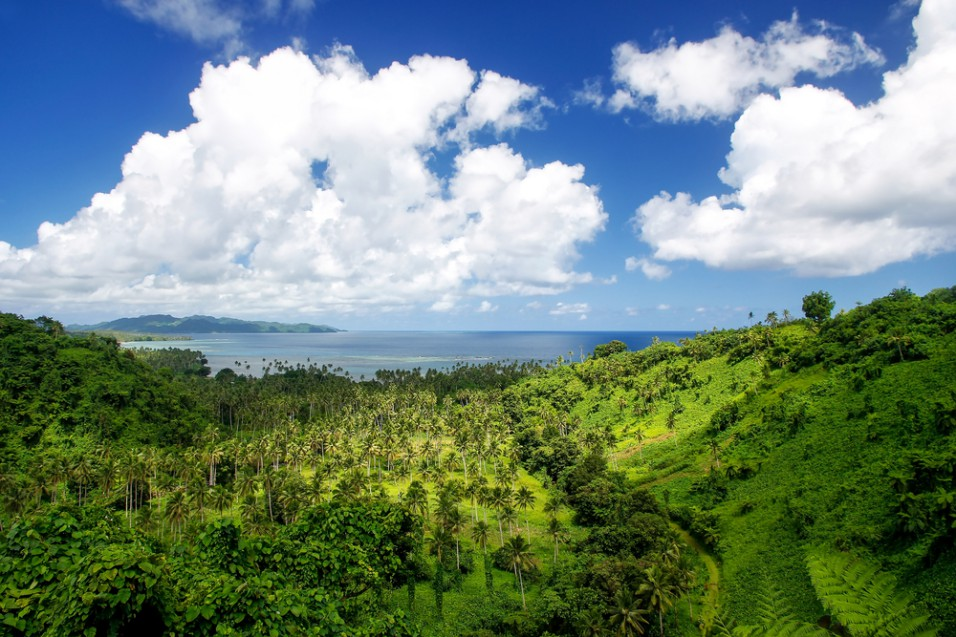 Best Things To Do In Taveuni, Fiji. View of Bouma National Heritage Park and Somosomo strait on Taveuni Island, Fiji. Taveuni is the third largest island in Fiji.